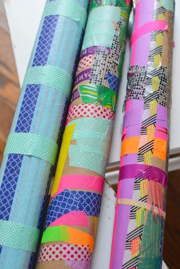 Regenmacher basteln bunt dekorieren mit Washi Tape bekleben