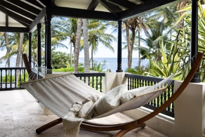 Restaurierung eine historische Villa in Puerto überdachte Veranda Hängematte kein Stress keine Hektik