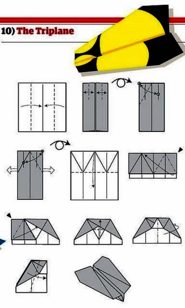 Rot und Gelb Papierflugzeug selber basteln