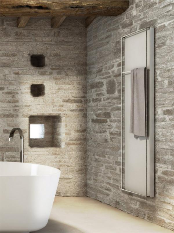 Stein im Bad Steinwände in Grau moderne Badewanne urig und natürlich
