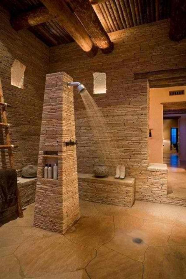 Stein im Bad breiter Einsatz des Naturmaterial Dusche im Zentrum des großen Raums