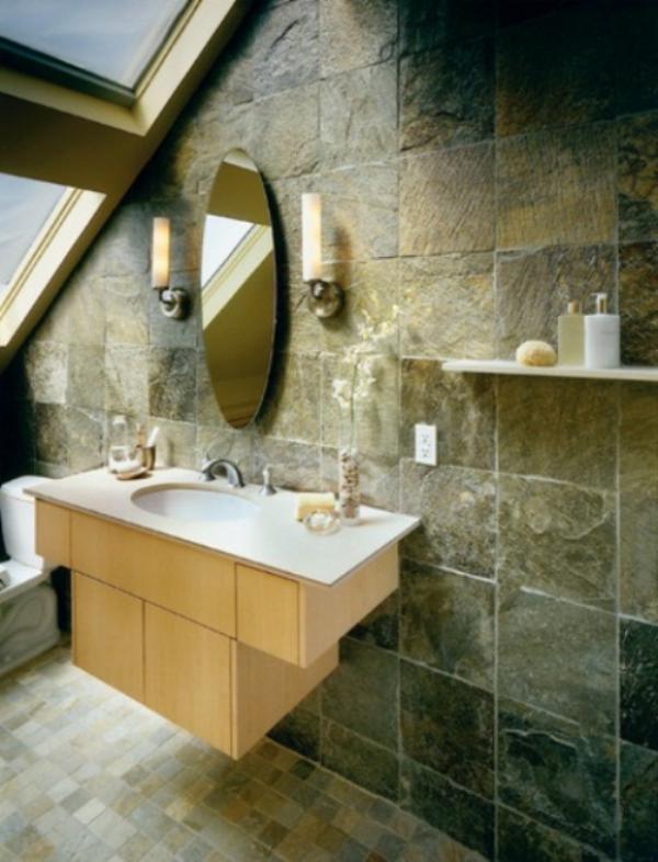 Stein im Bad mit Farben und Texturen spielen runder Spiegel