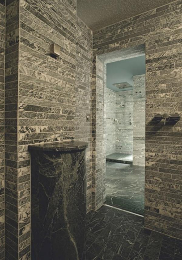 Stein im Bad modernes Bad Steinwände Waschtisch alles aus Naturstein