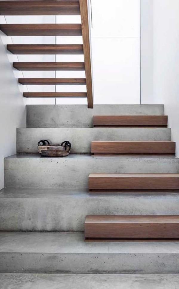 Treppengestaltung - Beton und Holz - Idee