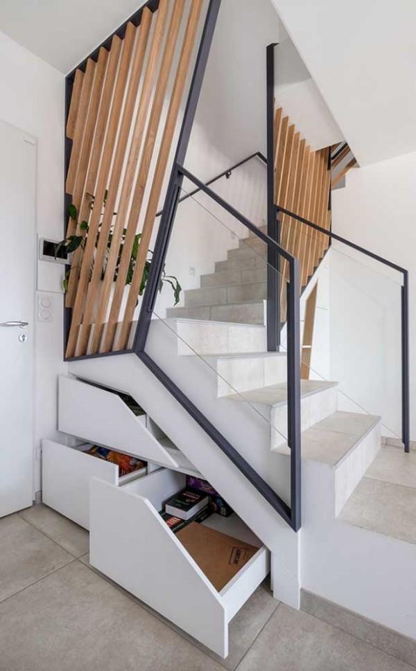 Treppengestaltung - Holz und Schubladen - multifunktionelle Treppengestaltung