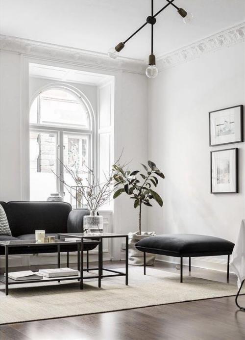 Wohnzimmer in Schwarz-Weiß minimalistischer Stil