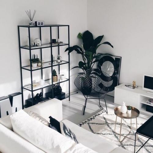 Wohnzimmer in Schwarz-Weiß weiße Möbel weiße Wände Teppich