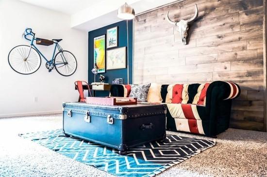 boho style wohnzimmer mit truhentisch
