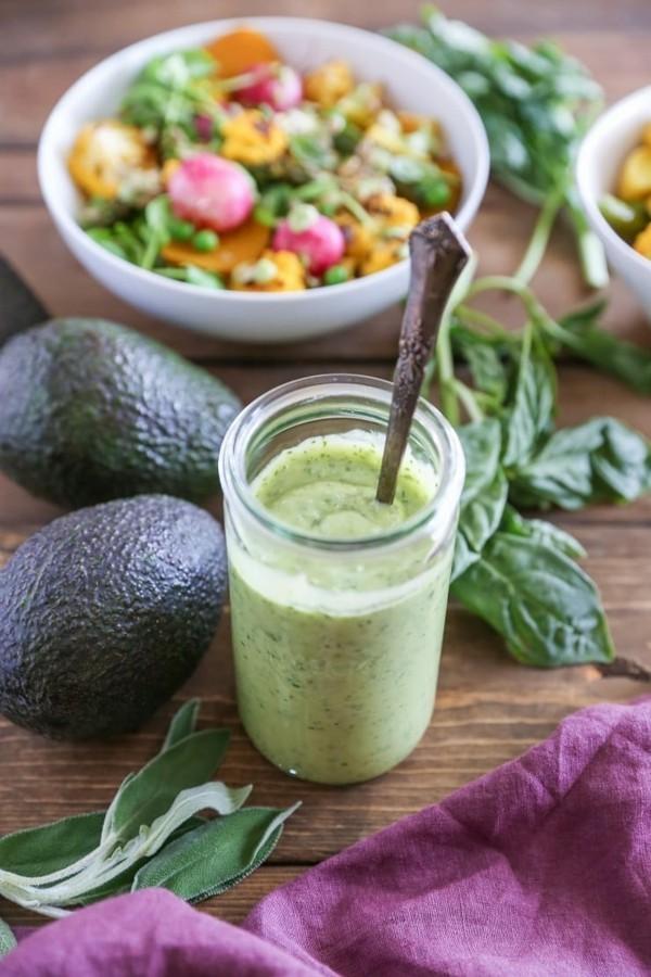 buddha bowl rezepte grünes avocado dressing-