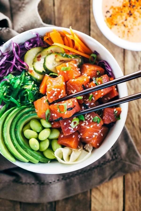 buddha bowl rezepte lachs salate