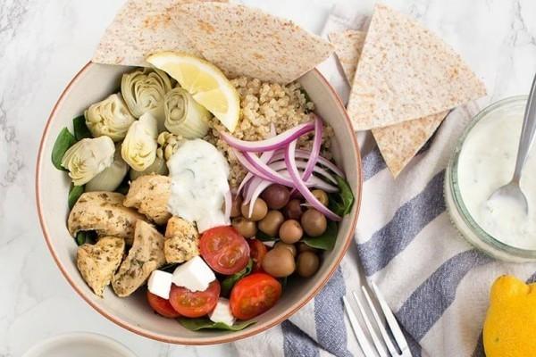 buddha bowl rezepte pute oliven artischoken