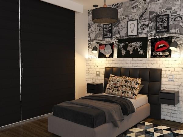 einzimmerwohnung mit viel grauer und schwarzer farbe