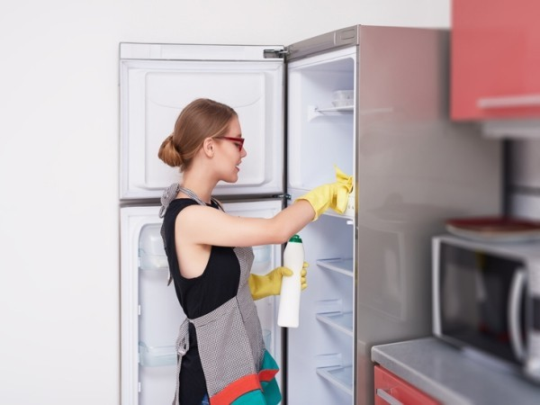 side view of woman cleaning the fridge
