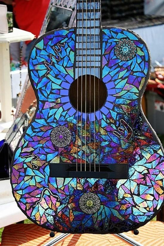 gitarre dekorieren mit alten cds aus alt mach neu