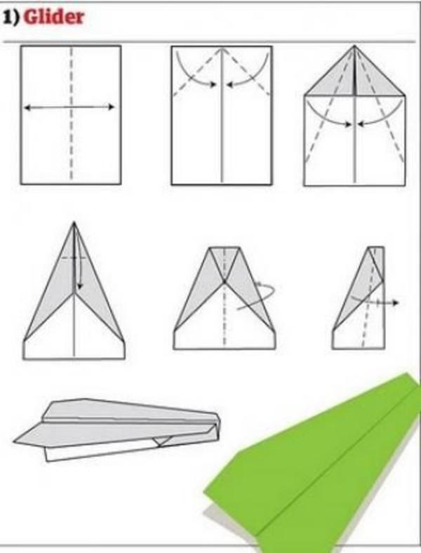 grelles grünes Papierflugzeug - Papierflieger