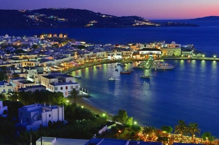 griechische Inseln Mykonos Stadt Nachtleben