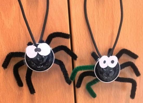 halloween spinnen basteln mit kaffeekapseln