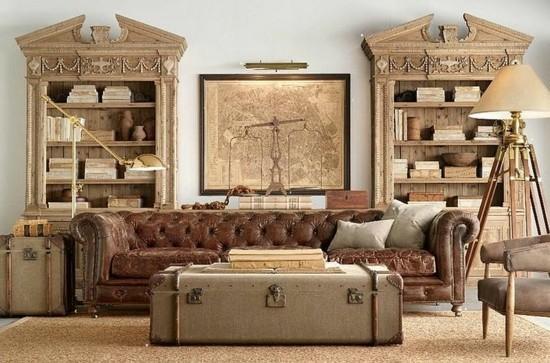 kkolonialer stil wohnzimmer mit truhentisch
