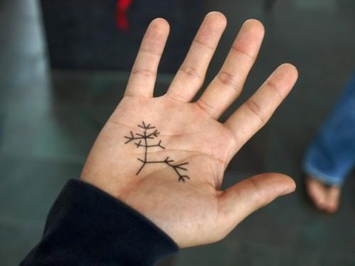 kleine tattoos männer handfläche baumzweige
