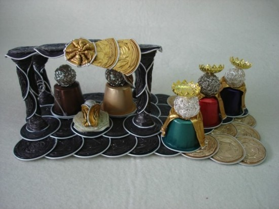 kreative krippe basteln mit kaffeekapseln