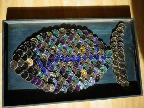 kunst fisch basteln mit kaffeekapseln