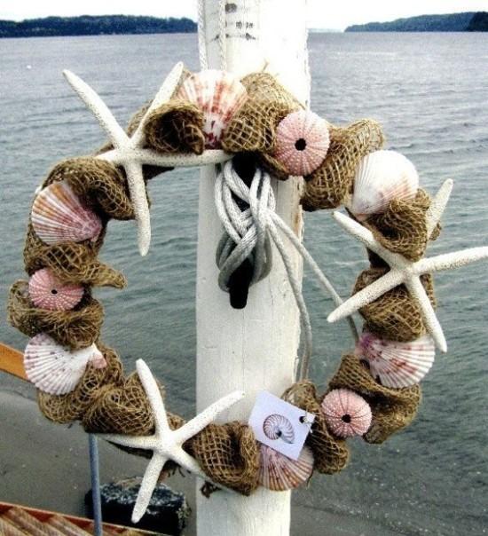maritimen kranz basteln mit seeigel gehäusen und muscheln