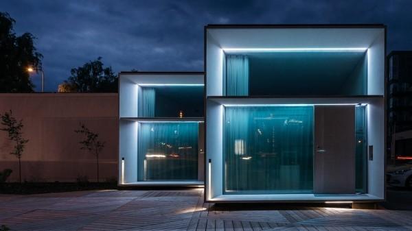 σύγχρονα αρχιτεκτονικά διάφανα τείχη
