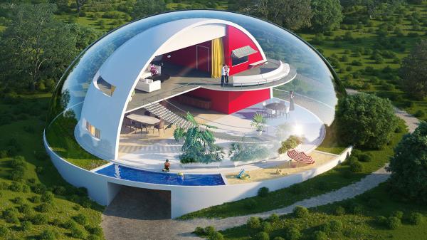 moderne architektur mit ovaler gestaltung