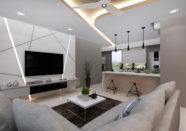 moderne deckengestaltung wohnzimmer küche