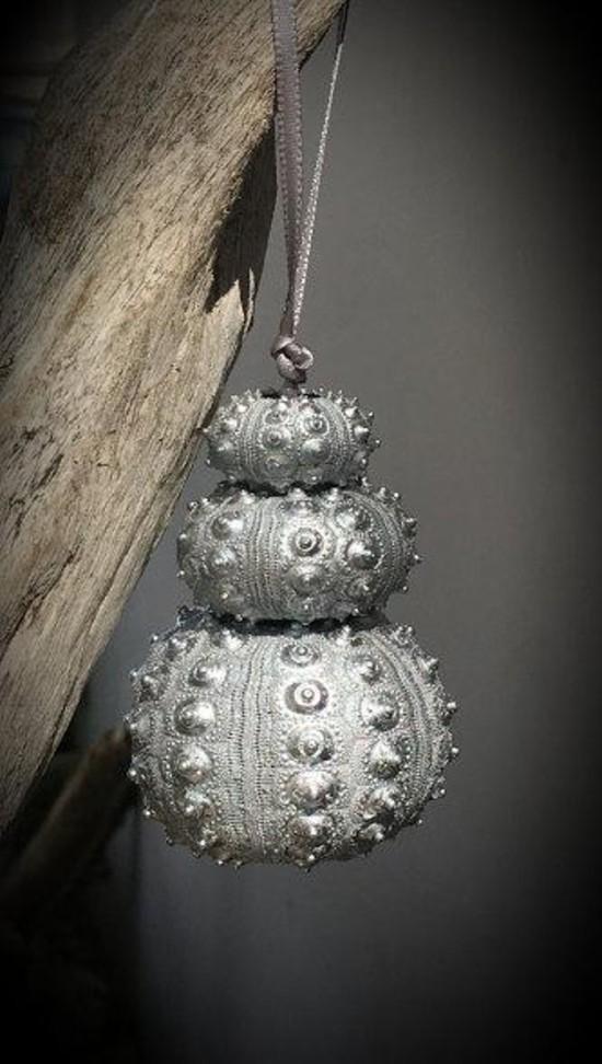 silber weihnachtsschmuck basteln aus seeigel gehäusen