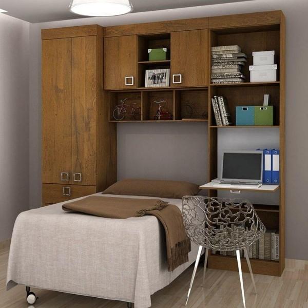 tolles bett unter der garderobe einzimmerwohnung