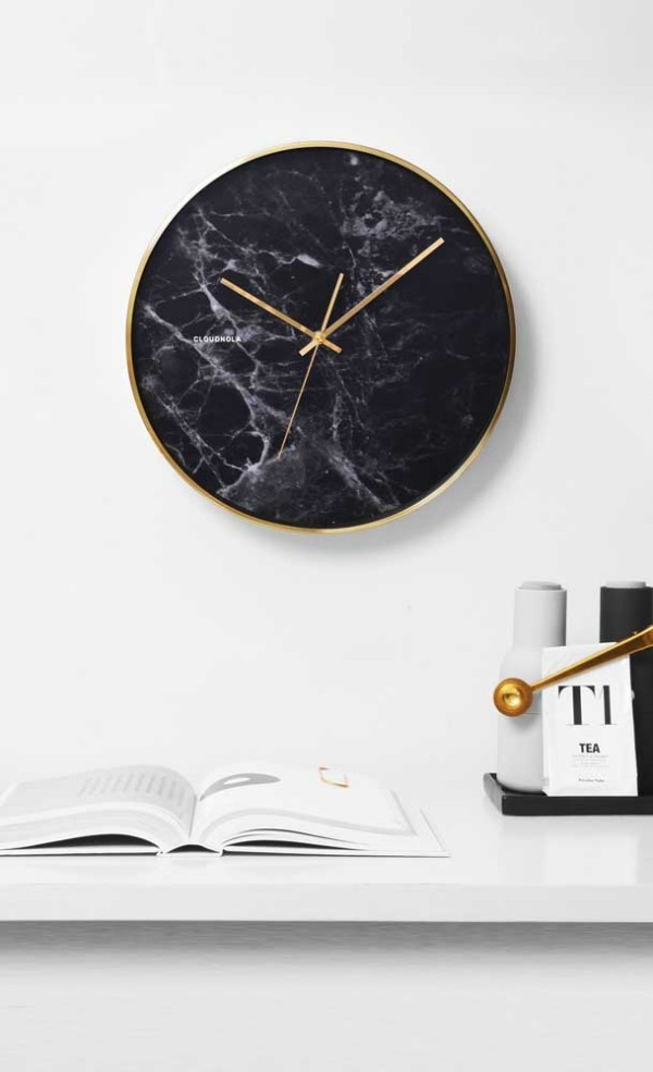 wanduhr - tolles schwarzes marmor