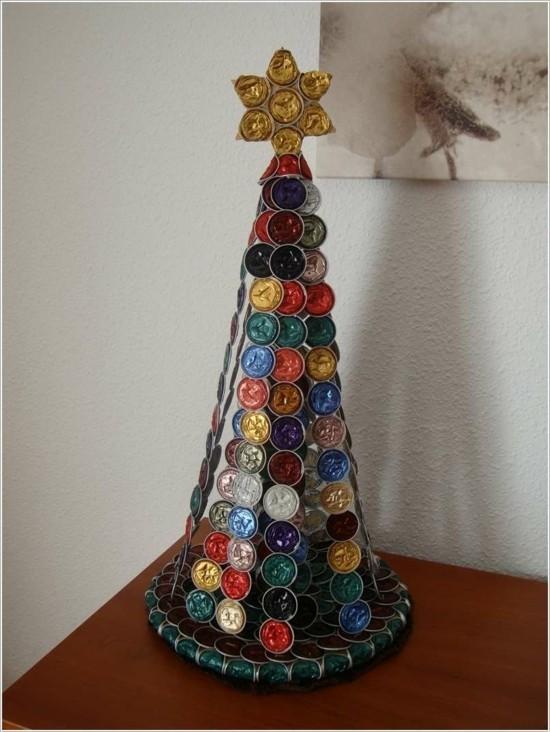 weihnachtsbaum basteln mit kaffeekapseln