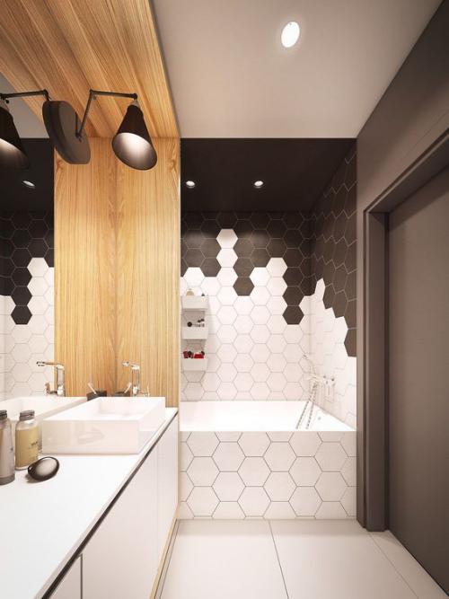 Fliesen-Akzente im Bad kreativ und gewagt Schokoladenbraun Weiß in Kombination modernes Baddesign mit hexagonalen Fliesen