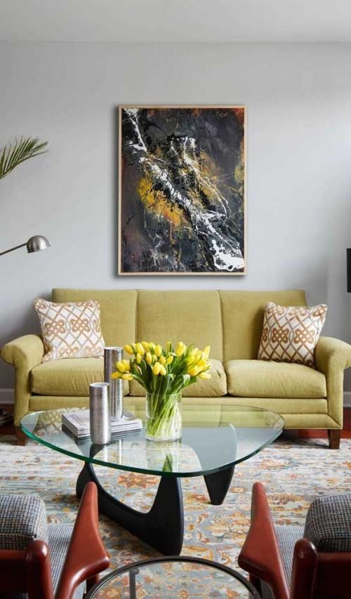 Gelbes Möbelstück an der Wand Sofas Idee für die Inneneinrichtung