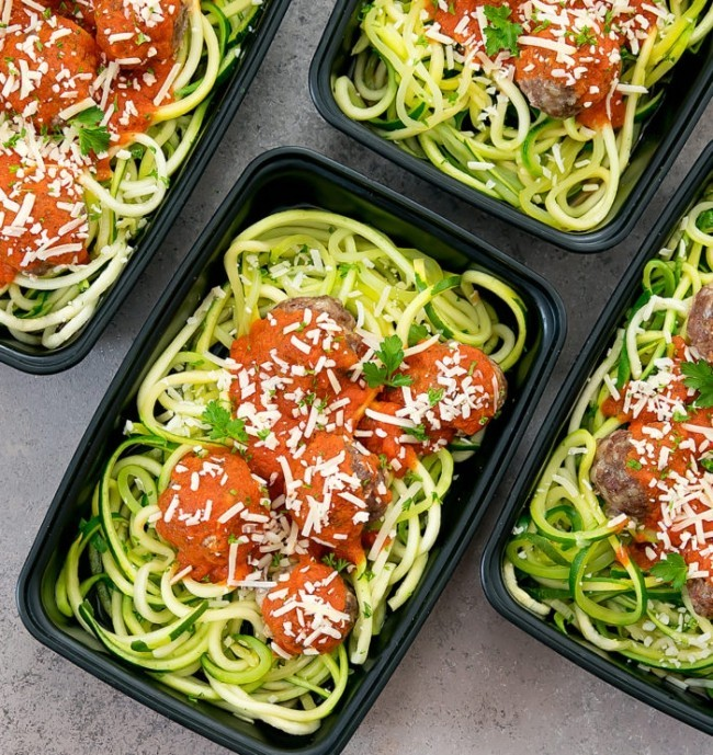 Gesunde, schnelle und einfache Low Carb Rezepte fleischklößchen mit zucchini spaghetti