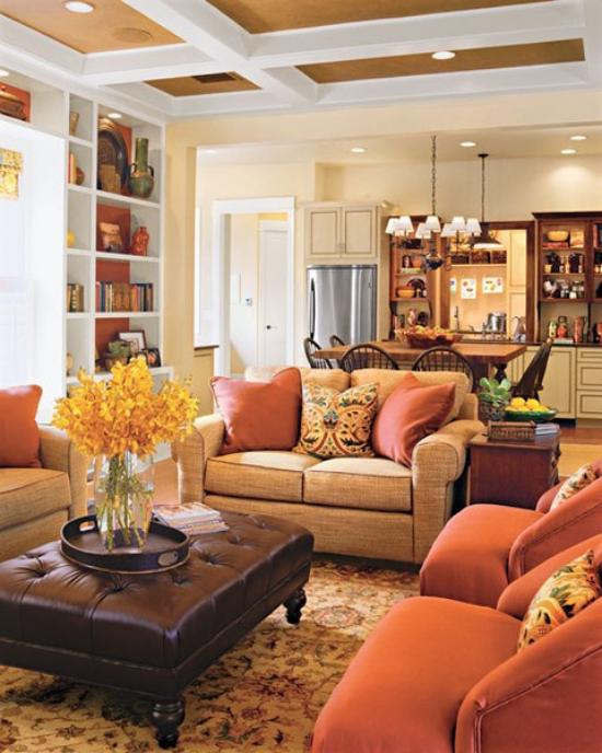Herbstdeko im Wohnzimmer gemütlicher und wohliger Raum gelbe Blätter in Vase