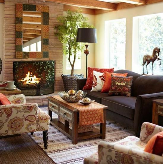 Herbstdeko im Wohnzimmer im Landhausstil