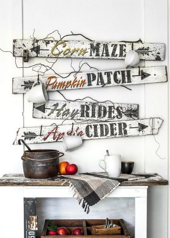 Holzschilder heißen den Herbst willkommen im Retro-Look schöne DIY Idee