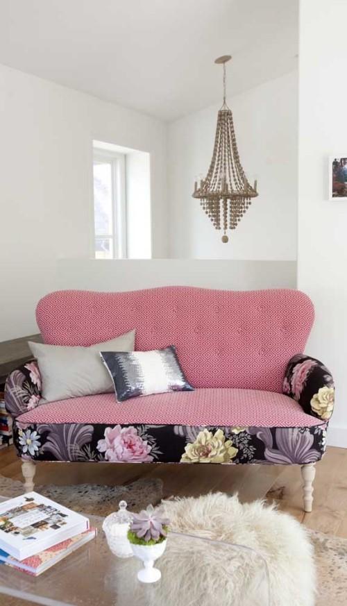 Inneneinrichtung Blumen Prints Sofa Retro