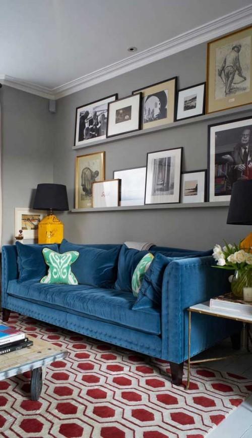 Inneneinrichtung - blaue Sofa Ideen - Retro