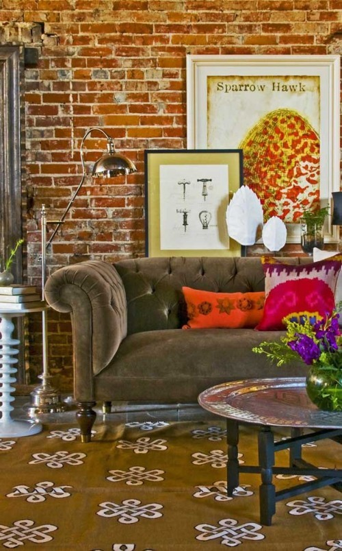 Inneneinrichtung braun Retro Sofa Design