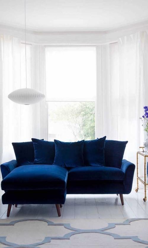 Inneneinrichtung dunkelblaue idee sofa retro