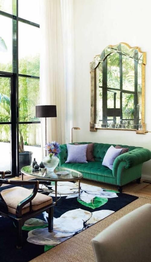 Inneneinrichtung grüner akzent sofa retro