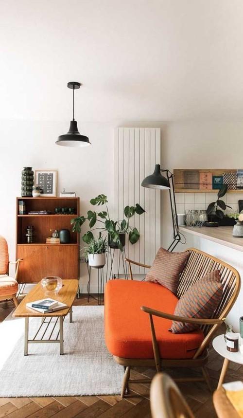 Inneneinrichtung kissen sofa retro grau orange