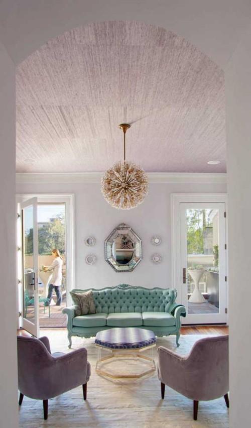 Inneneinrichtung minimliastische wohnideen - grünes sofa retro