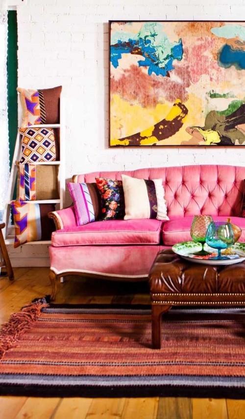 Inneneinrichtung - sofa in rosa - wohnideen