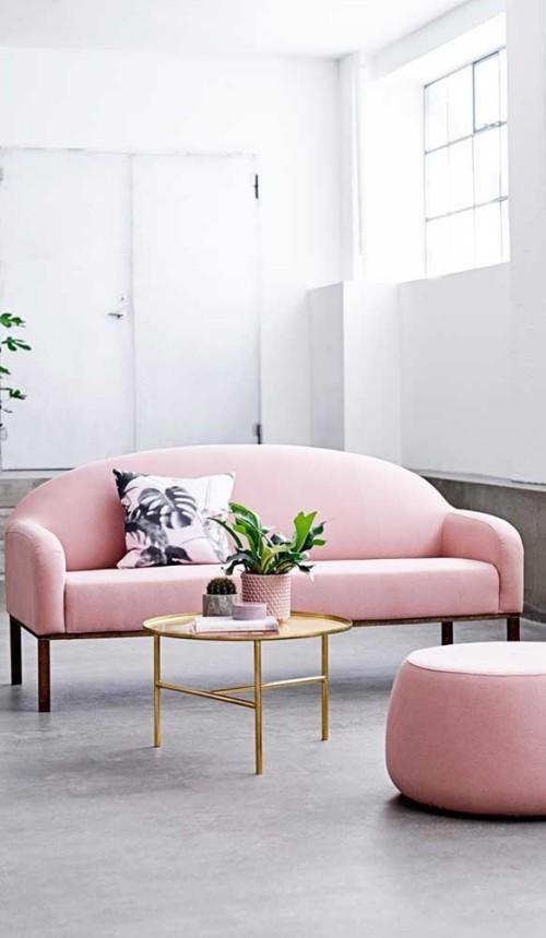 Inneneinrichtung sofa rosa feminin