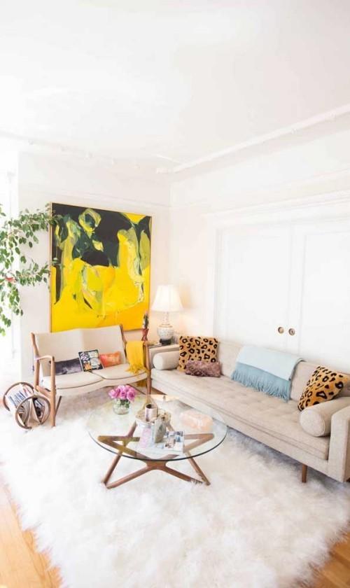 Inneneinrichtung weißes Sofa Retro Stil