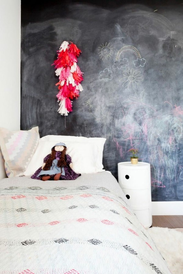 Kinderzimmer Bett Kreidetafel Wand Tafelfarbe